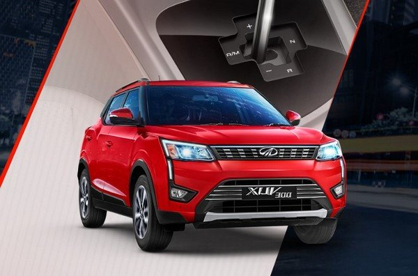 mahindra xuv300 amt red colour front three quarters