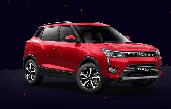 mahindra xuv300 red front three quarters right side