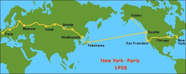 route map of the new york to paris race