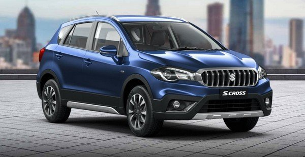 maruti s-cross blue colour front three quarters right side