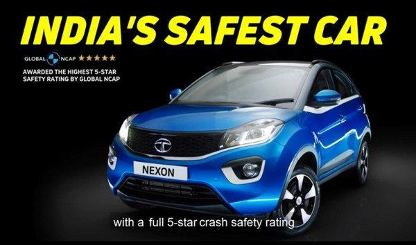 Tata Nexon blue side profile angle safety