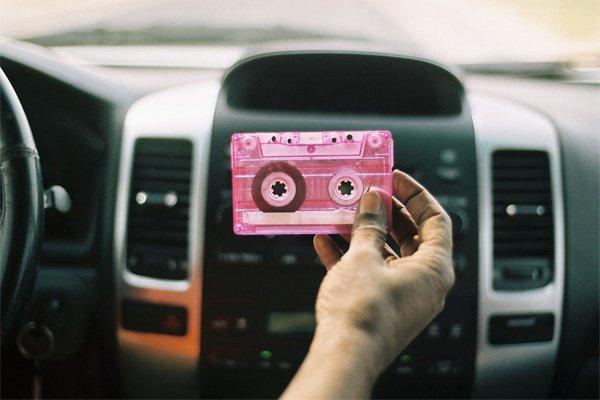pink cassette on car