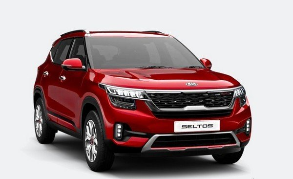 new kia seltos red colour front three quarters right side
