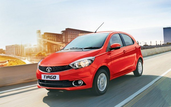 tata tiago red front three quarters left side