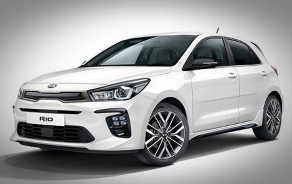 New Kia Rio white color from front to back