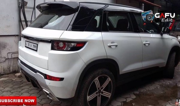 modified maruti vitara brezza white rear angle