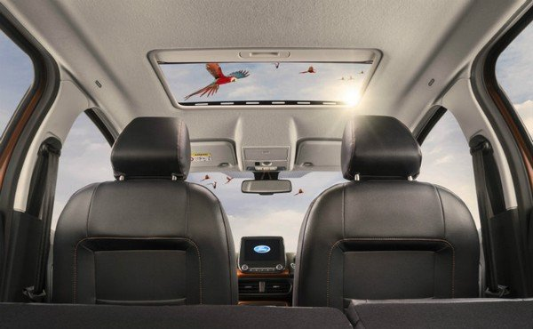 car with sunroof interior