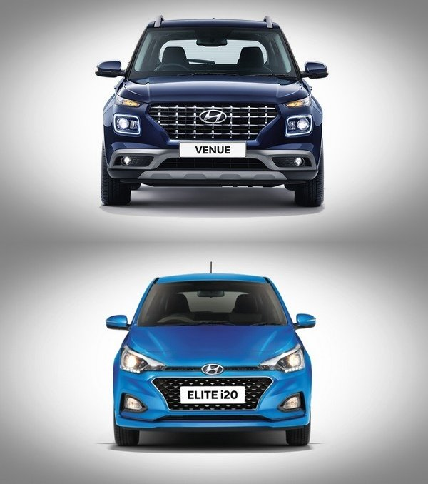 hyundai venue vs elite i20 front