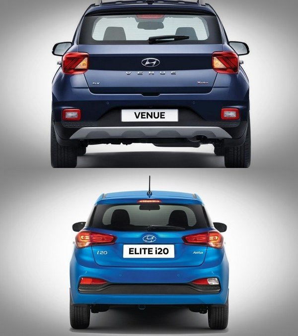 hyundai venue vs elite i20 rear