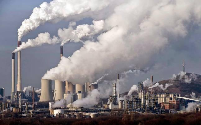 Smoke rising from factories