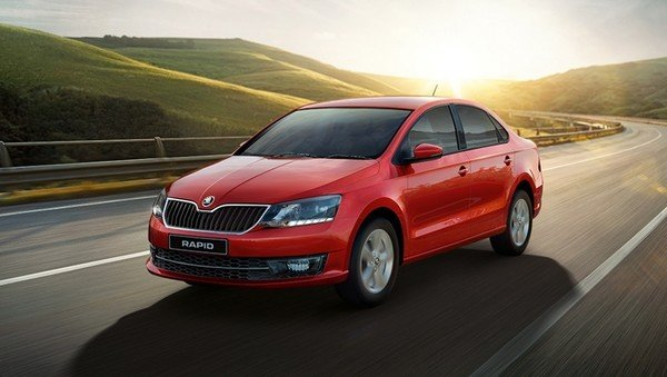 skoda rapid red front angle