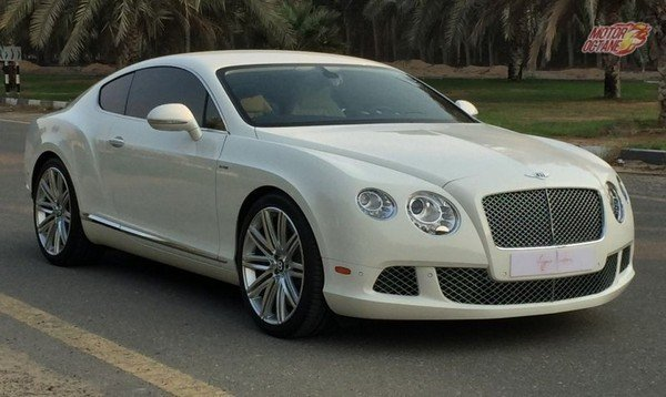 bentley continental GT white front three quarters right side