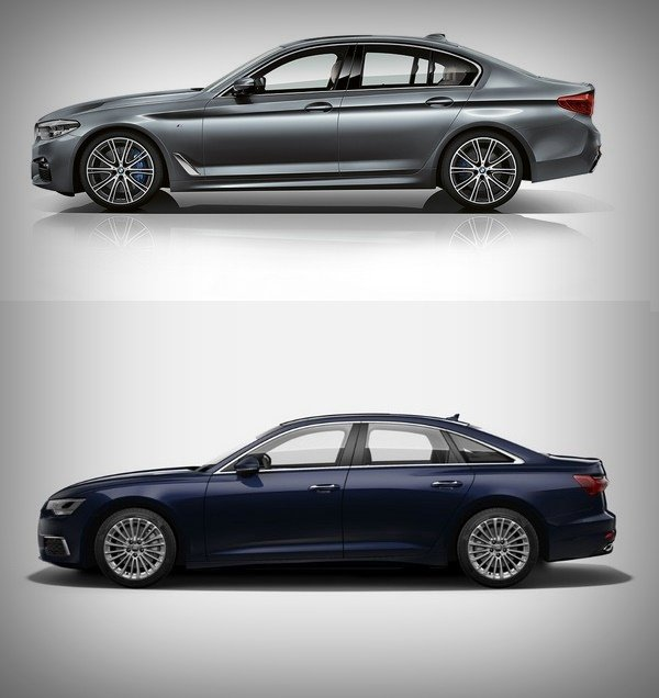 bmw 5-series audi a6 side angles