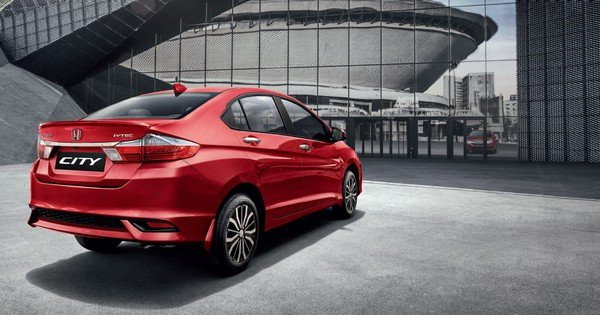 current honda city red rear angle