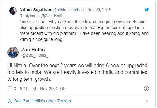 Six Upcoming Skoda Cars In India zac hollis confimed tweet
