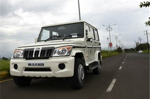 mahindra bolero power plus white front angle