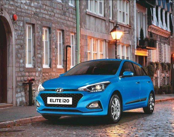 new hyundai elite i20 blue front angle