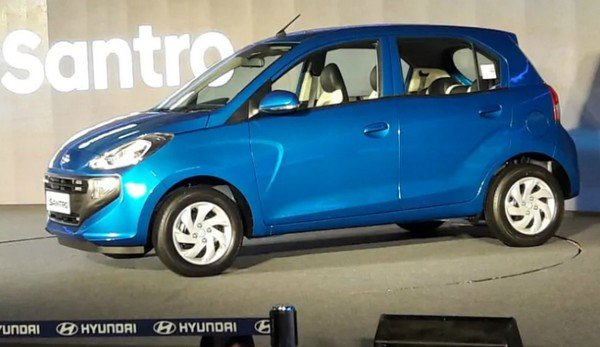 hyundai santro cng blue side profile