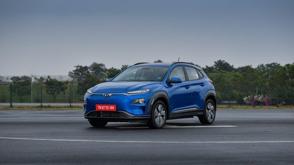 Hyundai kona electric three quarters blue colour