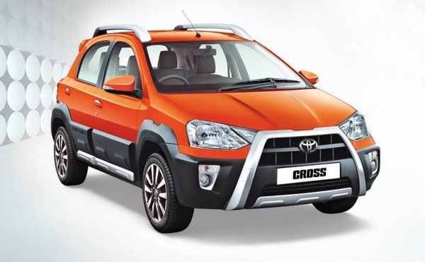 toyota etios cross orange three quarters front angle