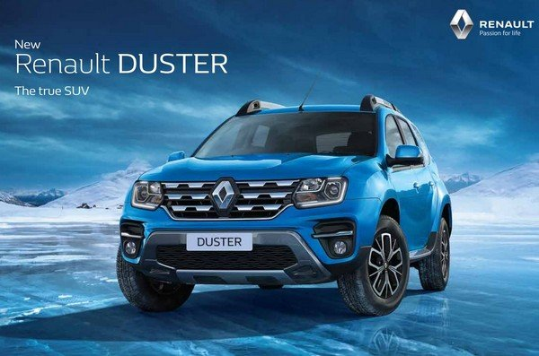renault duster 2019 blue colour front angle