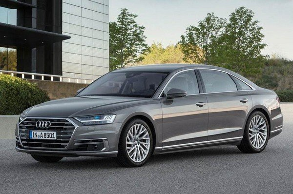 2020 audi a8 silver front angle