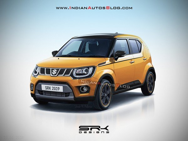 maruti ignis facelift yellow front three quarters