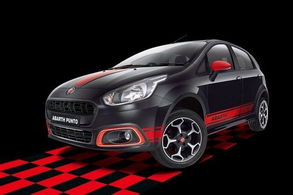 fiat abarth punto black red front angle