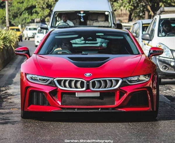 sachin tendulkar car - modified bmw i8 front angle