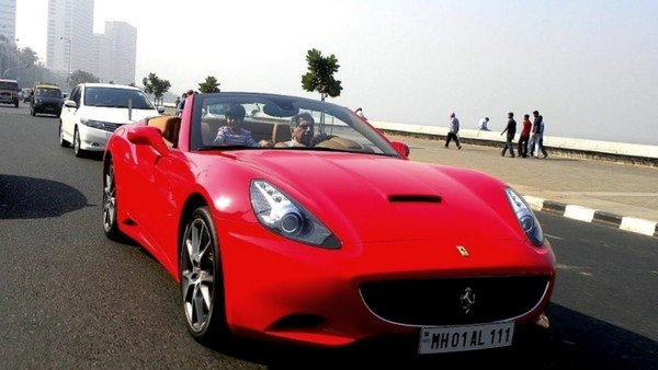 ratan tata car ferrari california red colour front angle