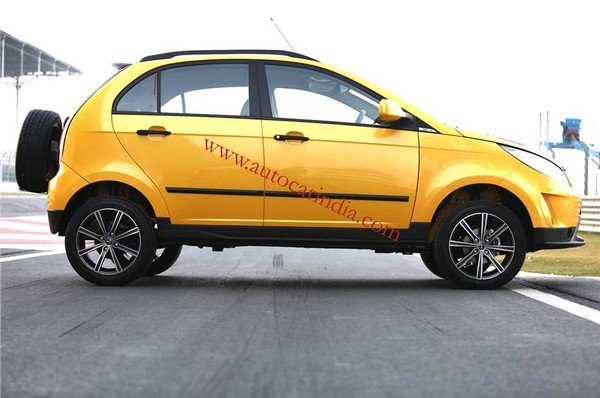 tata vista d90 xtreme concept yellow side profile