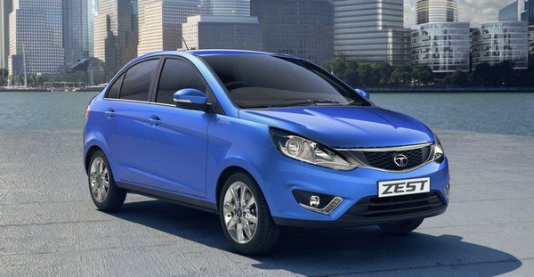 tata zest blue colour front three quarters right side