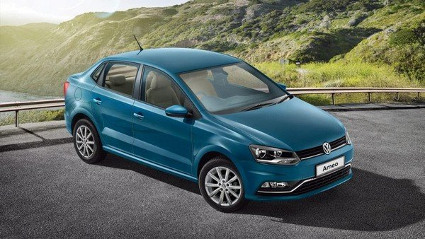 Volkswagen Ameo blue colour front angle