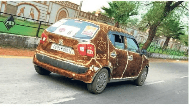Cow Dung covered Maruti Ignis