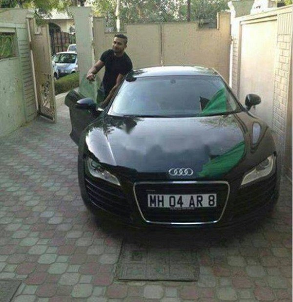 honey singh car collection - audi r8 v10 plus black front angle