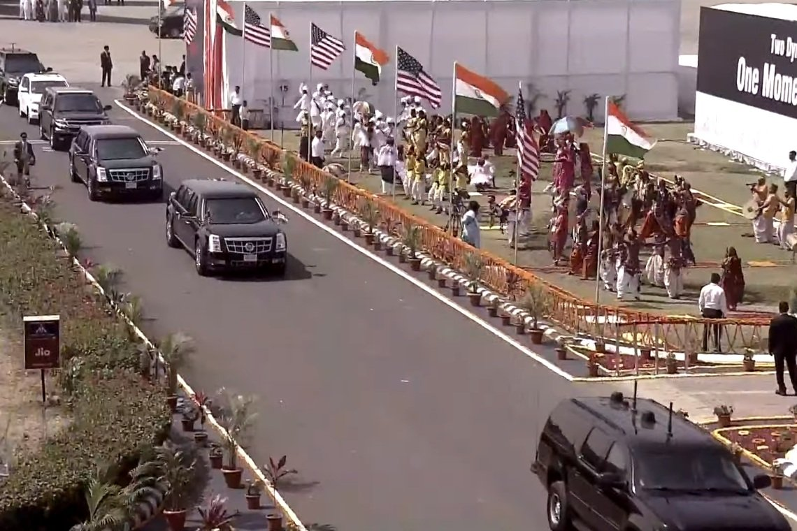 Cadillac One SUV Donald Trump's security convoy in India