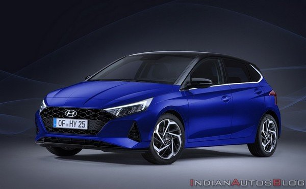 2020 hyundai i20 front three quater blue