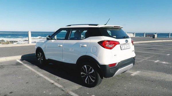 mahindra xuv300 white rear angle