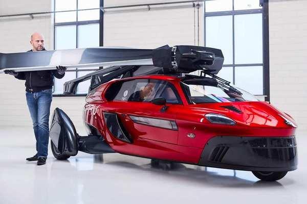 Front side shot of flying car