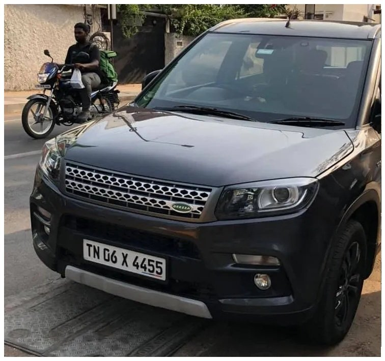 modified Maruti Brezza with Land Rover inspired front grille