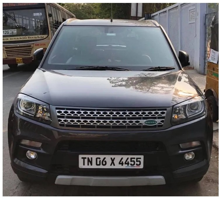 modified Maruti Brezza with Land Rover front grille