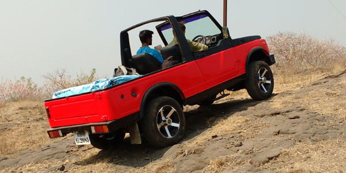 Maruti Suzuki Gypsy EV climbing a steep slope