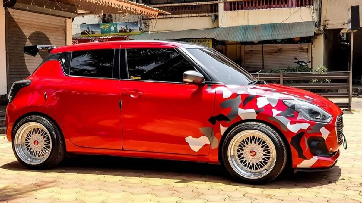 A Neatly Done Maruti Swfit With Lowered Suspension