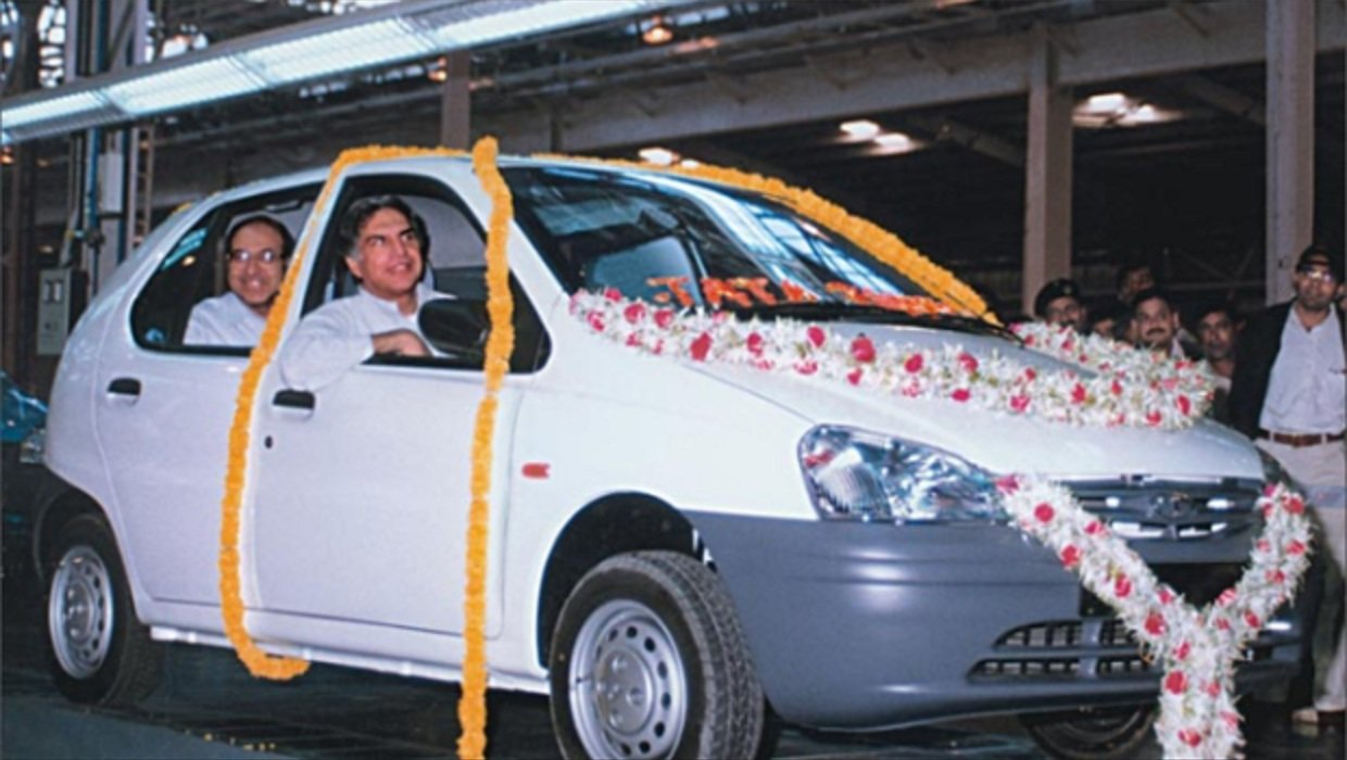 Ratan Tata rolling out the first Indica off the production line