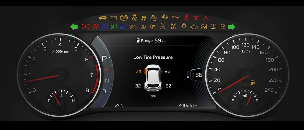 Tyre pressure monitoring system in Kia Telluride and Seltos