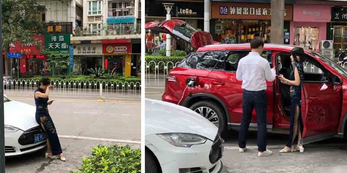 Chinese BYD Song Charges Tesla Model S