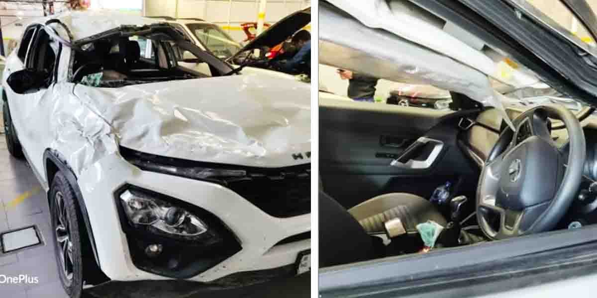 Tata Harrier Meets With a MASSIVE Accident, All Occupants Safe