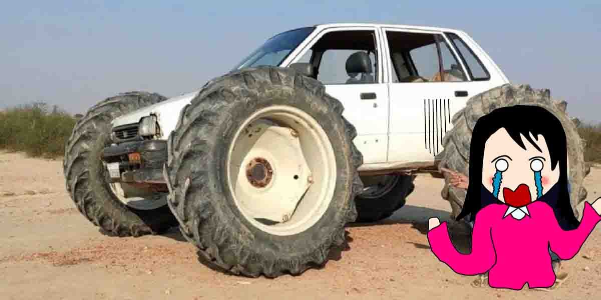 poor maruti 800 modified to run on tractor tires