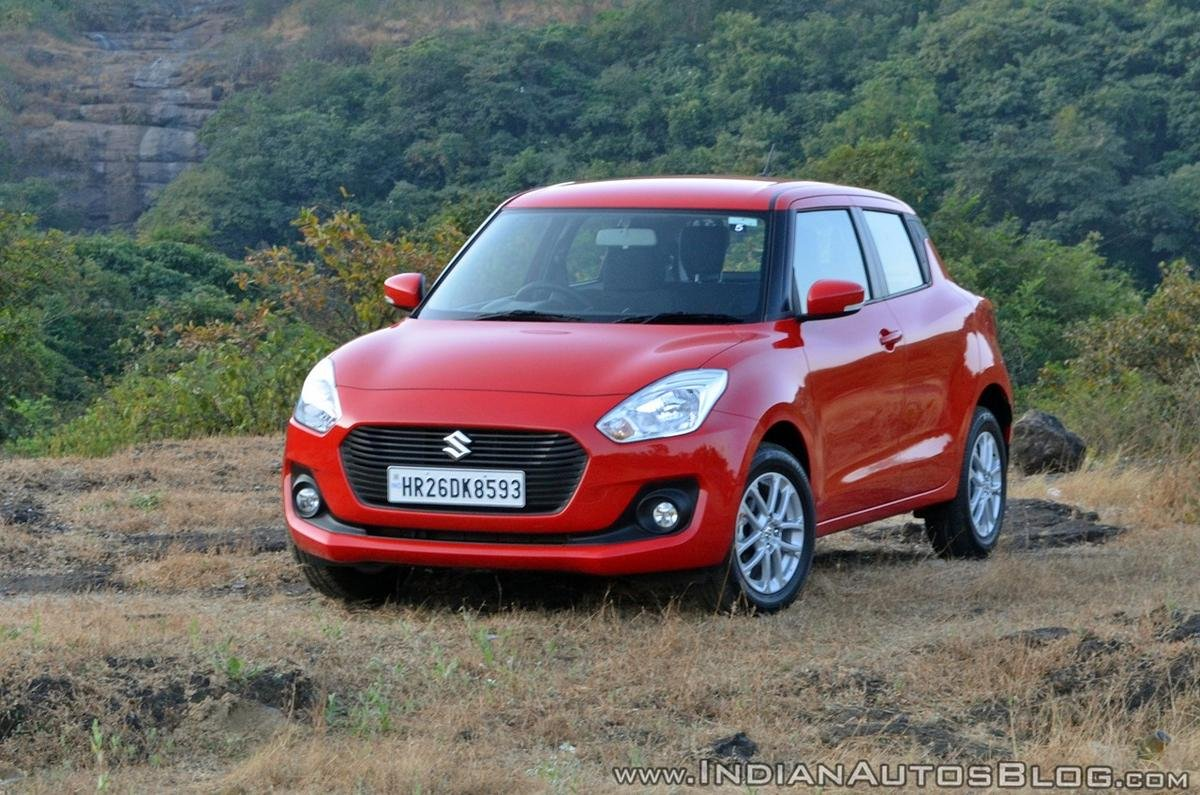 maruti swift red colour front three quarters