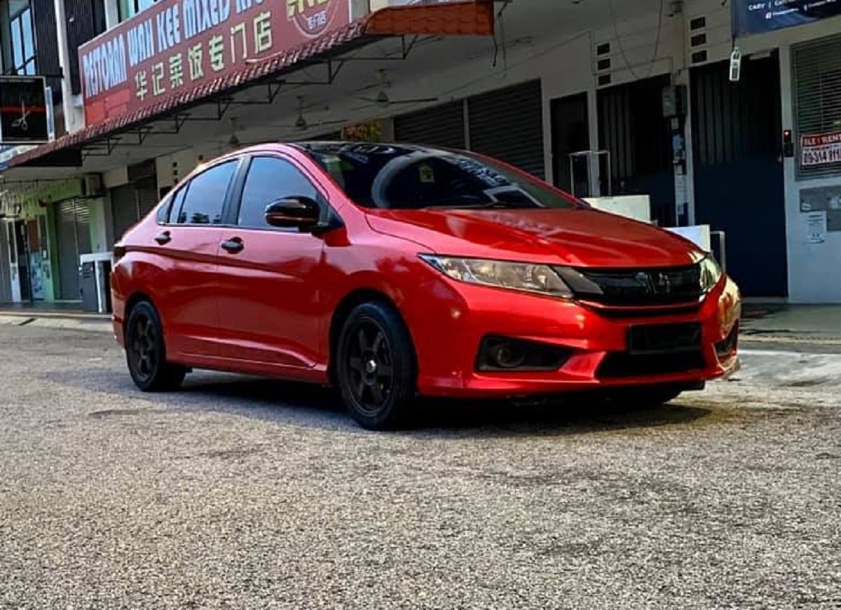 Check Out This Stunning Honda City with Candy Red Wrap